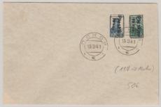Pleskau; Nrn.: 5 + 6 auf ungelaufenem Brief (abgestempelt)