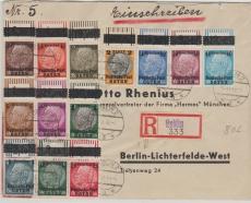 GG Nrn.: 1- 13 (je vom OR!), in MiF auf Fernbrief- Einschreiben von Lublin nach Berlin