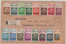 Luxemburg, 1- 16 (je vom OR! Kompletter Satz!) auf Einschreiben- Brief von Luxemburg nach Markkleeberg