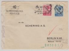 Dt. Bes. Jugoslavien, Serbien, Nrn.: 5 + 7, als MiF, gelaufen auf Brief von Belgrad nach Berlin, mit Zensur