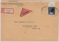 798 vom OR, als EF auf NN- Einschreiben- Fernbrief von Luxemburg nach Friedrichstadt / Eider
