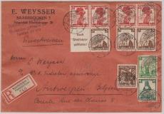 W 102 u.a. in MiF auf Auslands- Einschreiben von Saarbrücken nach Antwerpen (Belgien), rs. mit Zollkontrolle