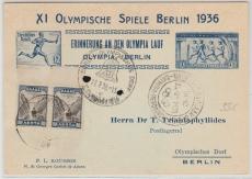 Grichisch / Deutsche Karte zur Olympiade 1936, mit grichischen und deutschen Stempel! Schöne Olympiaphilatelie!