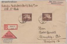 780 (2x), als MeF auf NN- Einschreiben- Fernbrief von Berlin nach Ronneburg