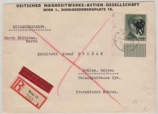 799A vom ER, als EF auf Eilboten- Einschreiben- Fernbrief von Wien nach Schlesisch Ostrau