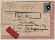799 B als EF auf Wertpaket- Adressaufkleber von Freiburg nach Potsdam