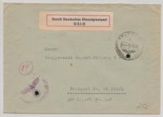Durch Deutsche Dienstpost OSLO Brief via Feldpost von / an Feldpostnr.