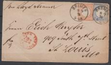 Nrn.: 18 + 20 in MiF auf Auslandsbrief von Bremen nach St. Louis (USA)
