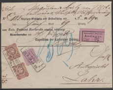 Nrn.: 32 + 35 a ZW auf NN- Brief von Carlsruhe nach Lahr, Fotoattest Wiegand BPP! Sehr Selten!!!