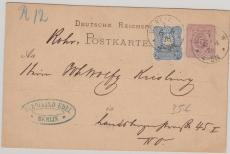 5 Pfge.- GS mit Nr. 34 als Zusatzfrankatur, verwendet als Rohrpostkarte innerhalb Berlins! Frühdatum!
