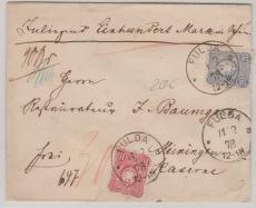 Nrn.: 33 + 34 als MiF auf Wertbrief von Fulda nach Meiningen