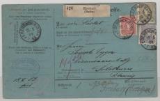 Nrn: 44 u.a. in schöner ausgabengleicher MiF, auf Auslands- Paketkarte von Eberbach nach Solothurn (CH)