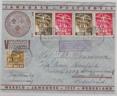 Niederländisch- Indien, 1937, MiF,  Welt- Pfadfindertreffen 1937, Umschlag und Marken, per Lupo nach Holland