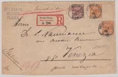 Nrn.: 49 (2x) + 50 als MiF auf Auslands- Einschreiben von Dresden nach Venedig, postlagernd!