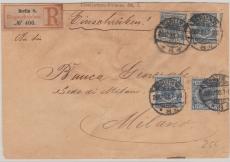 Nr. 48 (4x) als MeF auf Einschreiben- Auslandsbrief von Berlin nach Milano, tiefstgepr. Zenker BPP