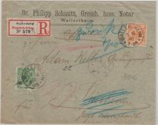 Nrn: 46 + 49, als MiF auf Einschreiben- Fernbrief von Walletsheim nach Sinsheim (?) und Zurück, geprüft Zenker BPP
