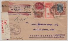 Indien, 1940, 1 R. und andere Werte in MiF, auf Lupo- Zensur- Brief nach Argentinien