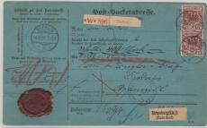 Nr.: 50 (2x) als MeF auf Auslands- Wertpaketkarte, von Brebach nach Appenzell ( CH)