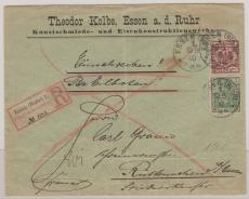 Nrn.: 49 + 55 als Ausgaben- MiF auf Eilboten- Einschreiben- Fernbrief von Essen nach Rittenscheid (?) bei Essen (?)