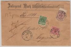 Nrn.: 46 aa, 47 + 49, als schöne 3- Farben- Ausgaben MiF, auf Wert- Fernbrief von Berlin nach Torgelow, geprüft BPP
