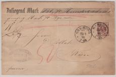 Nr.: 50 als EF auf Auslands- Wert- Fernbrief von Hamburg nach Wien