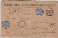 Nrn.: 48 (2x) + 50 als Ausgaben- MiF, auf Wert- Fernbrief von Waltershausen nach Neustadt / Orla, gepr. Jäschke- L. BPP