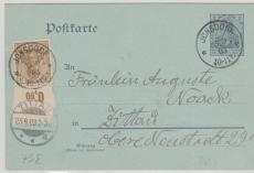 2Pfg.- GS (DR) + 69 OR als Zusatzfrankatur als Postkarte von Johnsdorf nach Zittau