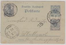 2 Pfg.- (Krone- Adler) GS + Nrn.: 52 + 53 als Zusatzfrankatur, gelaufen als Fernpostkarte von BahrenBusch nach Stuttgart