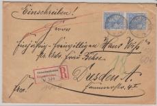 Nr.: 57 (2x) als Mef auf Einschreiben- Fernbrief von Kleinschmalkalden nach Dresden