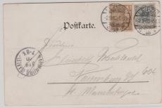 Nrn.: 52 + 54 als MiF auf Liebes- Postkarte von Leipzig nach Naumburg