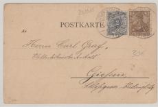 Nr.: 52 + 54 als MiF auf Postkarte von Spren... nach Gießen, an eine Elektrotechnische Anstalt ;)