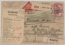 Nr.: 94 AI als EF auf Auslands- NN- Paketkarte in die Schweiz! Gelaufen von Berlin nach St. Gallen