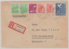 962 u.a. als Zehnfachfrankatur (West) auf Einschreiben- Ortsbrief innerhalb Dortmund´s
