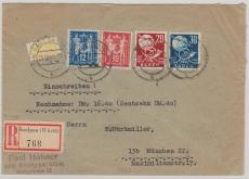 FRZ- Baden, Nrn.: 56 + 57 und DDR 243- 44 (!!!) zusammen als MiF auf NN- Einschreiben- Fernbrief! Gelaufen!!!