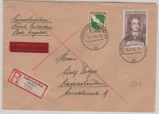 FRZ Nrn.: 5 u.a. in MiF auf Eilboten- Einschreiben- Fernbrief von Ludwigshafen nach Kaiserslautern