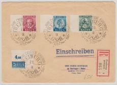 FRZ- Baden, Nrn.: 47- 49, als Satz- MiF auf Einschreiben- Fernbrief von Freiburg nach Eberfingen