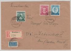 FRZ- Baden, Nrn.: 47- 49, als Satz- MiF auf Einschreiben- Fernbrief von Konstanz nach Lebenstedt, geprüft Schlegel BPP