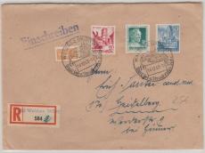FRZ- Württemberg, Nrn.: 47 u.a. auf Einschreiben Fernbrief von Waldsee nach M...