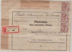 A 49 II (3x) als MeF auf Einschreiben- Päckchenaufkleber von A... nach Großröhrsdorf