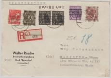 63II, u.a , in MiF auf Einschreiben- Fernbrief von Bad Nenndorf nach Hannover, rs. mit Ankunftsstempel