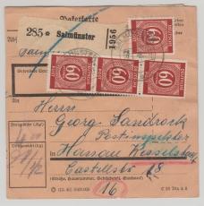 Kontrollrat 935 (5x) + AM- Post Nr.: 22 (10x) davon 1x mit Plattennummer! Auf Paketkarte! Seltene MiF