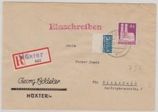 Bizone Nr.: 95 als EF auf Einschreiben- Fernbrief von Höxter nach Bielefeld