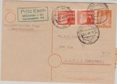 8 Pfg. GS- Karte mit 2x Nr. 78 als Zusatzfrankatur, als Karte von Münster nach Arhus (DK)