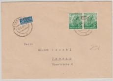 Nr.: 106 (2x) als MeF auf Fernbrief von Neckarsulm nach Passau (an E. Peschl)