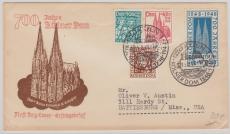 Nrn.: 69- 72, als MiF auf FDC- Auslandsbrief von Köln in die USA