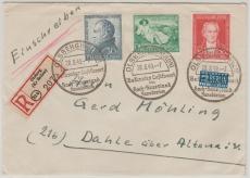 Nrn.: 108- 110, als MiF auf Satzbrief- Einschreiben von Olsberg nach Dahle