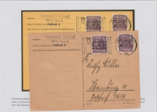 Nr.: 37 Ib K (2x) als MeF auf Fernpostkarte von Köln nach Hamburg, geprüft und Farbbestimmt