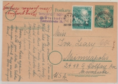 10 Pfg. 1. Bundestags- GS + 111 als Zusatzfrankatur als Auslandskarte von Wiesbaden nach Mineapolis / USA