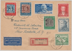 Nrn.: 113- 115 u.a. als MiF auf Lupo- Einschreiben- Auslandsbrief von Hamburg nach New Rochelle (USA)