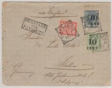 Suriname, 1905, nette MiF auf Brief via England nach Stettin